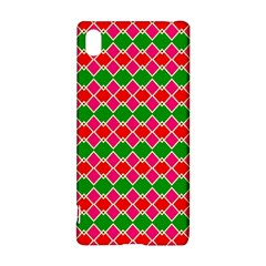Red pink green rhombus pattern			Sony Xperia Z3+ Hardshell Case