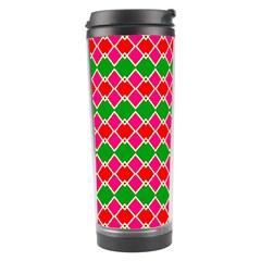 Red pink green rhombus pattern Travel Tumbler