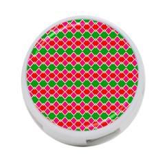 Red pink green rhombus pattern4-Port USB Hub (One Side)