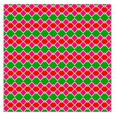 Red Pink Green Rhombus Pattern Satin Scarf
