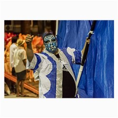 Painted Face Man At Inagural Parade Of Carnival In Montevideo Large Glasses Cloth (2-Side)