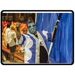 Painted Face Man At Inagural Parade Of Carnival In Montevideo Double Sided Fleece Blanket (Large)