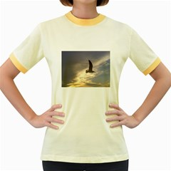 Fly Seagull Women s Fitted Ringer T-Shirts