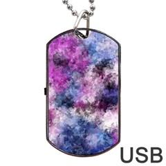 Shabby Floral 2 Dog Tag USB Flash (One Side)