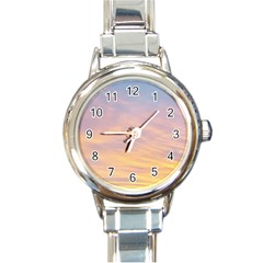Yellow Blue Pastel Sky Round Italian Charm Watches