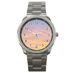 Yellow Blue Pastel Sky Sport Metal Watches