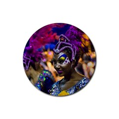 Costumed Attractive Dancer Woman at Carnival Parade of Uruguay Rubber Coaster (Round)