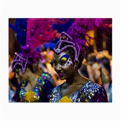 Costumed Attractive Dancer Woman at Carnival Parade of Uruguay Small Glasses Cloth