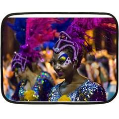 Costumed Attractive Dancer Woman at Carnival Parade of Uruguay Fleece Blanket (Mini)