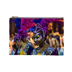 Costumed Attractive Dancer Woman at Carnival Parade of Uruguay Cosmetic Bag (Large)