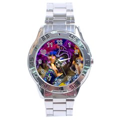 Costumed Attractive Dancer Woman at Carnival Parade of Uruguay Stainless Steel Men s Watch