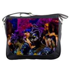 Costumed Attractive Dancer Woman at Carnival Parade of Uruguay Messenger Bags