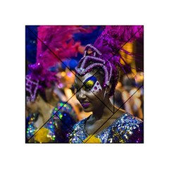 Costumed Attractive Dancer Woman at Carnival Parade of Uruguay Acrylic Tangram Puzzle (4  x 4 )