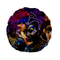 Costumed Attractive Dancer Woman at Carnival Parade of Uruguay Standard 15  Premium Round Cushions