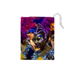 Costumed Attractive Dancer Woman At Carnival Parade Of Uruguay Drawstring Pouches (small)