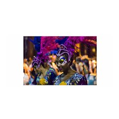 Costumed Attractive Dancer Woman at Carnival Parade of Uruguay Satin Wrap