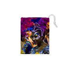 Costumed Attractive Dancer Woman at Carnival Parade of Uruguay Drawstring Pouches (XS)