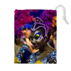 Costumed Attractive Dancer Woman at Carnival Parade of Uruguay Drawstring Pouches (Extra Large)