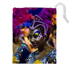 Costumed Attractive Dancer Woman At Carnival Parade Of Uruguay Drawstring Pouches (xxl)