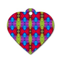 Colorful Painting Goa Pattern Dog Tag Heart (Two Sides)