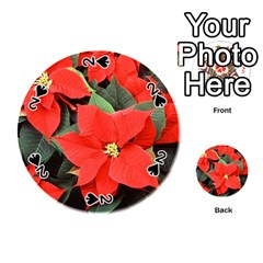 Poinsettia Playing Cards 54 (round)