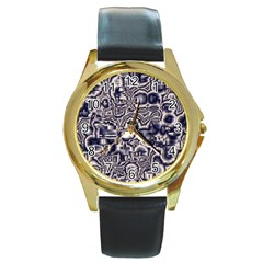 Reflective Illusion 04 Round Gold Metal Watches