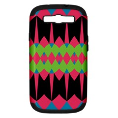 Rhombus and other shapes patternSamsung Galaxy S III Hardshell Case (PC+Silicone)