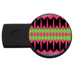 Rhombus and other shapes patternUSB Flash Drive Round (4 GB)