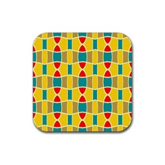 Colorful chains patternRubber Square Coaster (4 pack