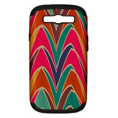Bended shapes in retro colorsSamsung Galaxy S III Hardshell Case (PC+Silicone)
