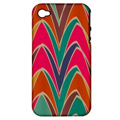Bended shapes in retro colorsApple iPhone 4/4S Hardshell Case (PC+Silicone)