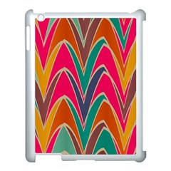 Bended shapes in retro colorsApple iPad 3/4 Case (White)