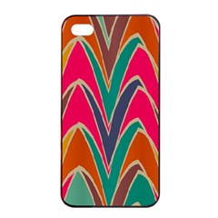 Bended shapes in retro colorsApple iPhone 4/4s Seamless Case (Black)