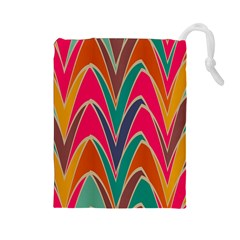 Bended shapes in retro colors Drawstring Pouch