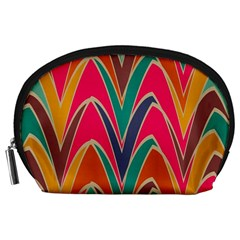 Bended shapes in retro colors Accessory Pouch
