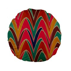 Bended shapes in retro colors 	Standard 15  Premium Flano Round Cushion