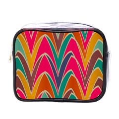 Bended shapes in retro colorsMini Toiletries Bag (One Side)