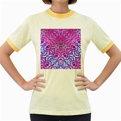 Ethnic Tribal Pattern G327 Women s Fitted Ringer T-Shirts
