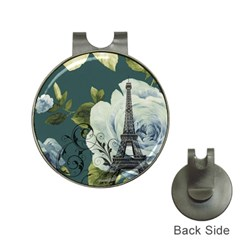 Blue roses vintage Paris Eiffel Tower floral fashion decor Hat Clip with Golf Ball Marker
