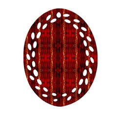 Red Gold, Old Oriental Pattern Oval Filigree Ornament (2-Side)