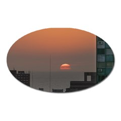 Aerial View Of Sunset At The River In Montevideo Uruguay Oval Magnet