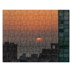 Aerial View Of Sunset At The River In Montevideo Uruguay Rectangular Jigsaw Puzzl