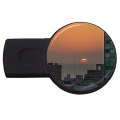 Aerial View Of Sunset At The River In Montevideo Uruguay USB Flash Drive Round (4 GB)