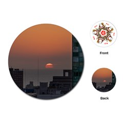 Aerial View Of Sunset At The River In Montevideo Uruguay Playing Cards (Round)