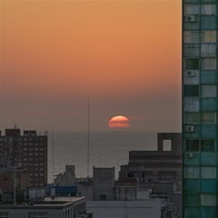 Aerial View Of Sunset At The River In Montevideo Uruguay Magic Photo Cubes
