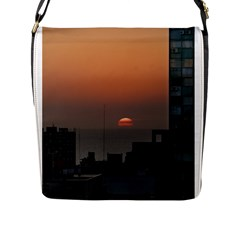 Aerial View Of Sunset At The River In Montevideo Uruguay Flap Messenger Bag (L)