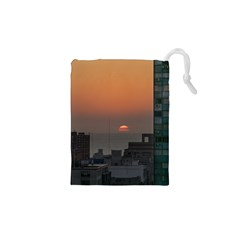 Aerial View Of Sunset At The River In Montevideo Uruguay Drawstring Pouches (xs)