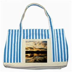 SUN REFLECTED ON LAKE Striped Blue Tote Bag
