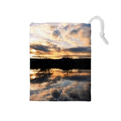 SUN REFLECTED ON LAKE Drawstring Pouches (Medium)