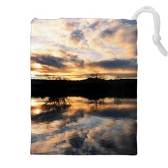 SUN REFLECTED ON LAKE Drawstring Pouches (XXL)